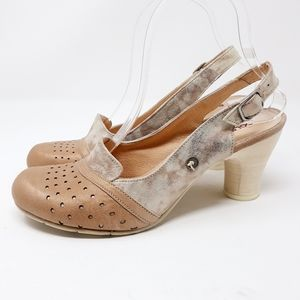 Gold Button Made in Spain Rose Gold Leather Heels